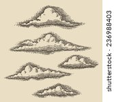 retro clouds engraving vector... | Shutterstock .eps vector #236988403
