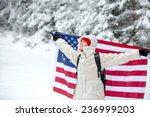 young traveler enjoy her winter