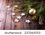 spruce branches on  wooden... | Shutterstock . vector #237063553