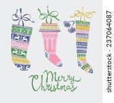 christmas stocking greeting card | Shutterstock .eps vector #237064087