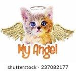 Stock photo t shirt graphics angel cat cat illustration watercolor 237082177