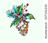 Watercolor Vector Fir Cone Wit...