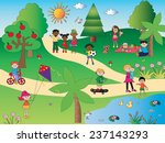 illustration of happy people in ... | Shutterstock . vector #237143293