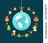earth globe and christmas... | Shutterstock .eps vector #237241873
