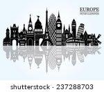 europe skyline detailed...   Shutterstock .eps vector #237288703