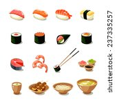 asia food icon set with sushi... | Shutterstock .eps vector #237335257