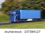 Blue Truck On A Fast Express...