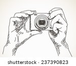 sketch of hands with compact... | Shutterstock .eps vector #237390823