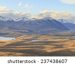 Small photo of Countryside of the New Zealand, view from Mount John Observatory to Lake Alexandrina, Canterbury, South Island, New Zealand.