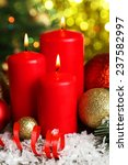 christmas balls and candles  | Shutterstock . vector #237582997