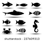 fish icons  | Shutterstock .eps vector #237609313