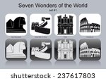 landmarks of seven wonders of... | Shutterstock .eps vector #237617803