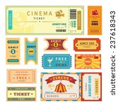 retro tickets set. temlate... | Shutterstock .eps vector #237618343