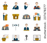 public speaking icons set with... | Shutterstock . vector #237678277