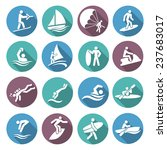 water sports white icons set... | Shutterstock . vector #237683017