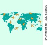 world map with air planes and...   Shutterstock . vector #237688507