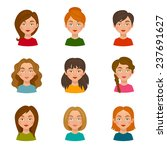flat avatars female icons set... | Shutterstock .eps vector #237691627