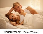 Stock photo young attractive couple having problem in bed 237696967