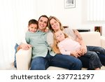 happy cheerful family with... | Shutterstock . vector #237721297