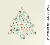 holiday card  christmas tree... | Shutterstock .eps vector #237791917