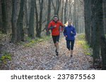 young couple running on the... | Shutterstock . vector #237875563