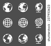 vector set of white globe icons | Shutterstock .eps vector #237953623
