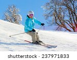 Skier At High Speed On Piste I...