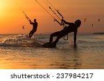 Girl Kiter Riding On A...