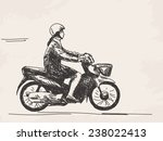 sketch of woman riding... | Shutterstock .eps vector #238022413
