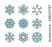 set of nine snowflakes thin... | Shutterstock .eps vector #238023787