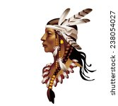 head indian girl in profile on...   Shutterstock .eps vector #238054027