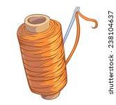 cartoon bobbin of orange thread ... | Shutterstock .eps vector #238104637