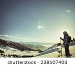 female snowboarder on the... | Shutterstock . vector #238107403
