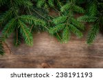 Branch Of Green Fir Tree On...