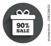90  sale gift box tag sign icon....