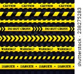 caution yellow stripes on dark... | Shutterstock .eps vector #238275283