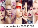 beauty collage. faces of women... | Shutterstock . vector #238299337