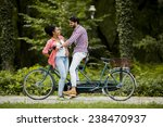 young couple riding on the... | Shutterstock . vector #238470937