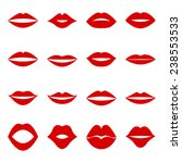 set of red lips  vector... | Shutterstock .eps vector #238553533