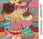 cupcake pattern. seamless sweet ... | Shutterstock .eps vector #238583707