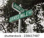 Small photo of Grays Mill Road and Ambler street sign in Warrenton Virginia, located in Fauquier County VA