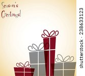 line of christmas presents in... | Shutterstock .eps vector #238633123