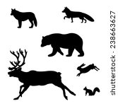 set of silhouettes of wild... | Shutterstock .eps vector #238663627