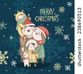 christmas card with happy... | Shutterstock .eps vector #238690513
