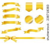 gold ribbons set isolated on... | Shutterstock .eps vector #238718383