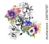 colorful garden flowers on...   Shutterstock .eps vector #238740787