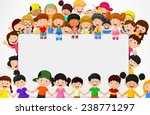 crowd children with blank sign | Shutterstock .eps vector #238771297
