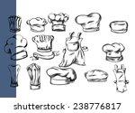hand drawn chef hat vector set | Shutterstock .eps vector #238776817