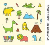 dino cartoon vector set  | Shutterstock .eps vector #238863523