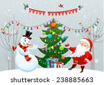 merry christmas card with santa ... | Shutterstock .eps vector #238885663